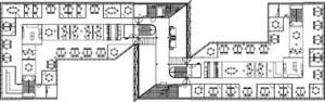 Tekening plattegrond 2e t/m 6e verdieping