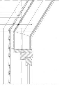 Tekening verticale doorsnede gevel en dak ter plaatste van raam