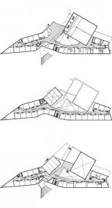 Tekening plattegronden begane, 1e en 2e verdieping