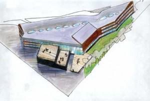 Ontwerpschets met op de voorgrond het theater en de sportzaal
