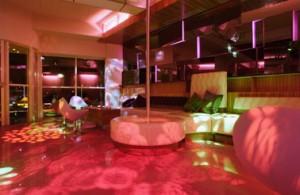 Loungeruimte met strippaal op 1e verdieping