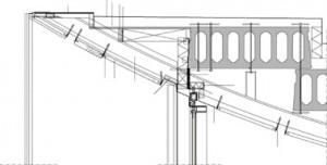 Tekening aansluiting dak op gevel