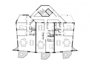 Tekening tallhouse 2e verdieping