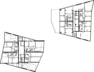 Tekening plattegrond 24e verdieping torens 1 en 2