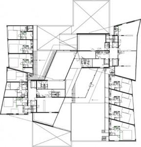 Tekening plattegrond 4e verdieping torens 1 en 2