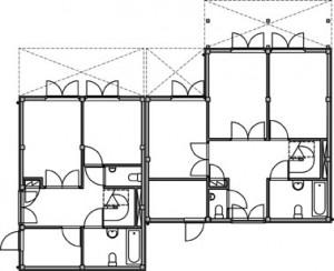 Tekening plattegrond begane grond atelierwoningen