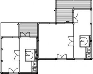 Tekening plattegrond tweede verdieping atelierwoningen