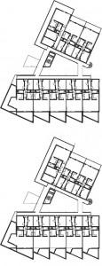 Tekening plattegronden parkeerkelder,begane grond,verdiepingen1