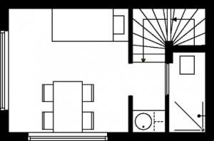 Tekening plattegrond eerste verdieping type 1