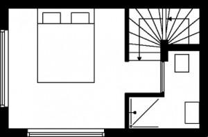 Tekening plattegrond tweede verdieping type 2