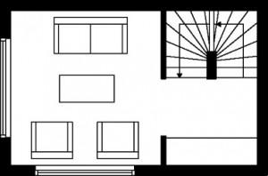 Tekening plattegrond tweede verdieping type 3
