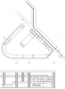 Tekening plattegrond en doorsnede centrale balie