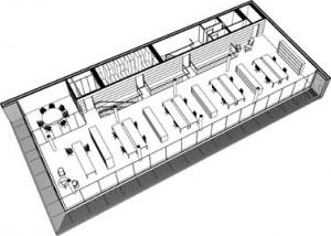 Tekening perspectief derde verdieping kantoorgebouw