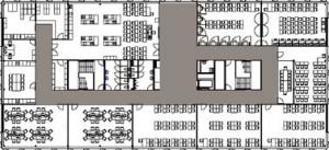 Tekening plattegrond vierde verdieping