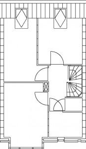 Tekening plattegrond tweede verdieping type C