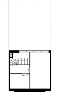 Tekening plattegrond tweede verdieping eengezinswoning