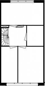 Tekening plattegrond tweede verdieping maisonnette