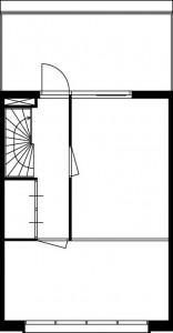 Tekening plattegrond derde verdieping maisonnette