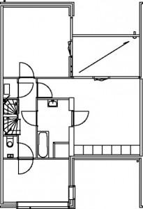 Tekening kadewoning eerste verdieping