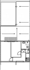Tekening patiowoning eerste verdieping