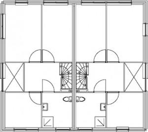Tekening 2-onder-1-kap eerste verdieping
