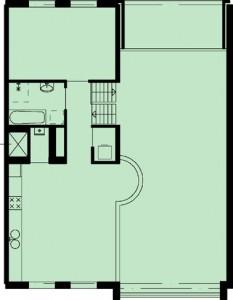 Tekening plattegrond vierde verdieping appartement