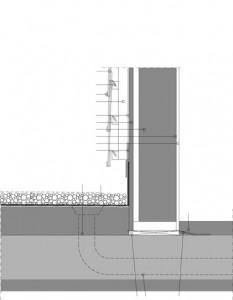 Tekening verticale doorsnede dakopbouw woningen