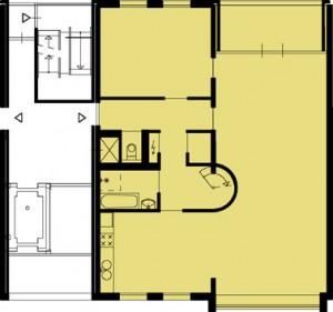 Tekening plattegrond eerste verdieping appartementen