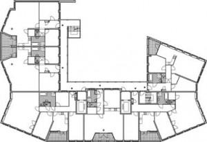 Plattegrond standaard verdieping appartement zuidelijk blok