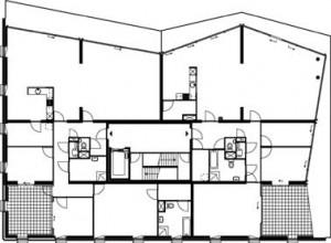 Plattegrond derde en vierde verdieping