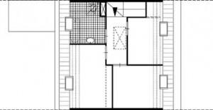 Plattegrond eerste verdieping smalle woning 1:250