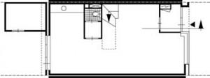 Plattegrond begane grond brede woning 1:250