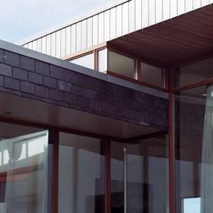 Het met leisteen omklede bouwvolume dringt als het ware het hogere woongedeelte binnen