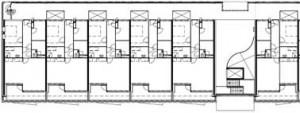 Plattegrond vierde verdieping 1:500