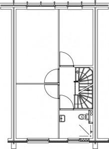 Plattegrond eerste verdieping zorgwoning 1:250