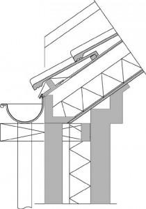 Detail aansluiting gevel en dak,zijaanzicht