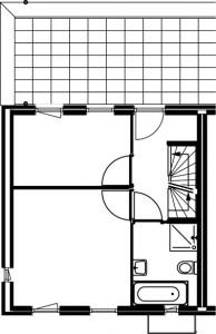 Plattegrond herenhuis eerste verdieping 1:250