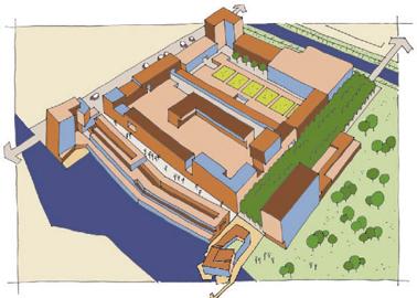Situatie centrum van stadshagen, middenonder het Cultuurhuis
