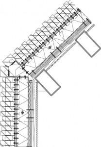Horizontale doorsnede stompe gevelhoek 1:15