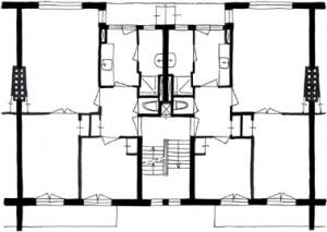 Plattegrond oorspronkelijke driekamerwoning 1:300