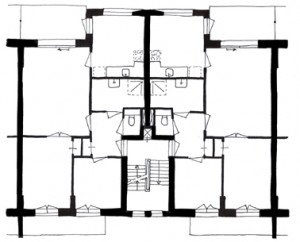 Plattegrond nieuwe driekamerwoning 1:300