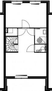 Plattegrond eerste verdieping teruggelegde woning 1:250