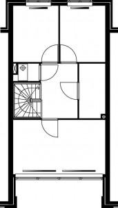 Plattegrond tweede verdieping teruggelegde woning 1:250