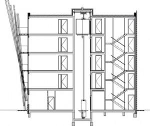 Doorsnede appartementgebouwen 1:400