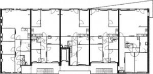 Plattegrond eerste verdieping appartementen complex 1:400