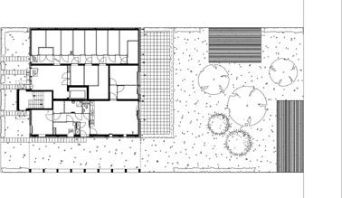 Plattegrond begane grond appartementencomplex 1:400