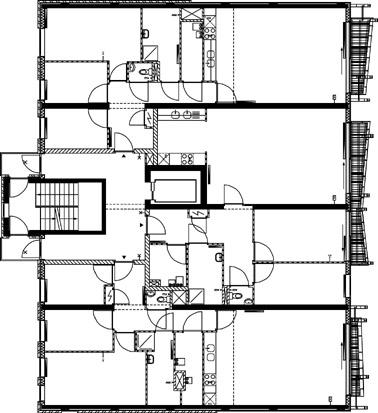Plattegrond eerste verdieping appartementencomplex 1:400