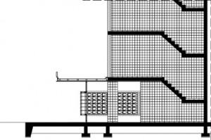 Doorsnede trappenhuis 1:300