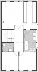 Plattegrond tweede verdieping schaal 1:250