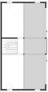 Plattegrond derde verdieping schaal 1:250